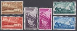 SPAGNA 1958  17° CONGRESSO FERROVIE  UNIF. N. 921/26  MNH   CV € 8 - 1951-60 Unused Stamps