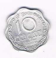 10 CENTS 1988   SRI LANKA /2625/ - Sri Lanka