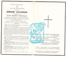DP Jerome Lalleman ° Langemark 1890 † St.-Juliaan 1948 X Zenobie Vanderjeugd / Delie Crevits Van Steenkiste - Images Religieuses