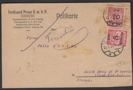 DANTZIG : Carte Postale Commerciale Avec Affrt à 2 Timbres 5 Pf/ 50M + 20Pf /100 M Oblt CàD DANZIG 1924 - Danzig