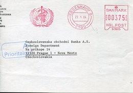 49699 Danmark, Red Meter Freistempel Ema, Kobenhavn World Health Organization,organ. Mondiale Santè   (front Of Cov - Affrancature Meccaniche Rosse (EMA)