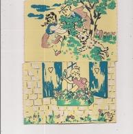 Lot De 2 Cartes Postales  Polyflok  Tissu Peint  -     Scènes Enfants - Scenes & Landscapes