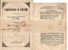 L' Observateur Du Dimanche - Brochure Religieuse De 28 Pages - N° 79 Aout 1860 Tome VII (Divers 79) - Livres, BD, Revues