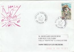 Batral LA GRANDIERE  Tournée Des Iles Eparses  Cachets Au Verso 2 Scan - Réunion Le Port Marine 23/7/2002 - Postmark Collection (Covers)