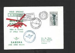 Vol Spécial Foire De Milan Du 27/04/1954 (Milan Turin) SIKORSKY S-55 OO - SHC - Airmail