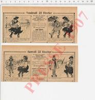 2 Scans 1907 Humour Galanterie Par Temps Pluvieux Dame Sans Parapluie Moitié Pébroque Genre Manteau De Saint-Martin 229M - Vieux Papiers