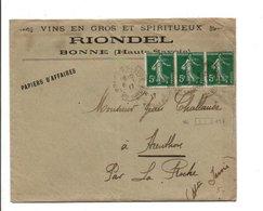 AFFRANCHISSEMENT COMPOSE DE SEMEUSE SUR LETTRE A EN TETE DE BONNE HAUTE SAVOIE 1917 - Poststempel (Briefe)