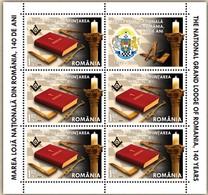 ROMANIA 2020: GRANDE LODGE FREEMASONRY 2 Small Sheets - Registered Shipping! Envoi Enregistre! - Franc-Maçonnerie