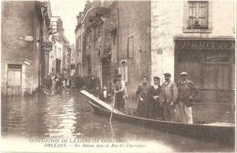 Dépt 45 - ORLÉANS - En Bateau Dans La Rue Des Charretiers (crue, Inondation, Octobre 1907) - Débit De Vins AUXENT-DENIAU - Orleans