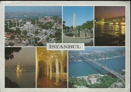 Istanbul - Multivue - Voyagée Vers La France1992, Timbre Kemal Ataturk 1000, Affranchissement Rouge - Turquie