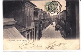 Cpa Old Pc Brésil Santos Rua Sao Antonio Paquebot Postmark - São Paulo
