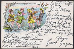Badespass Kinderpostkarte  Litho - CAK  Von 1903 Mit Spielende Kinder Im Wasser Verlag: L. H. I. M. Nr. 63, Jungen - Humour