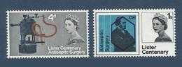 Grande Bretagne Great Britain 1965 Yvert 405/406 ** Decouverte De L'antiseptie Par Joseph Lister - 1952-.... (Elizabeth II)
