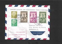 Vol  Paris Bruxelles (courrier étranger Sarre)  Du 03/03/1957 SIKORSKY S-58 OO - SHL - Airmail