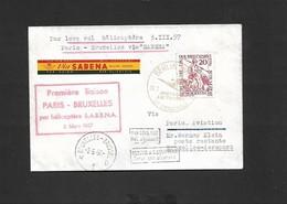 Vol  Paris Bruxelles (courrier étranger Rép. Démocratique Allemande)  Du 03/03/1957 SIKORSKY S-58 OO - SHL - Airmail
