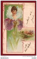 Très Belle Illustration Art Nouveau - Portrait De Femme - Iris - Dessin Légèrement Gaufré - A & MB N° 86 - 2 Scans - Illustrators & Photographers