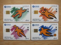 China Telecom Chip Phonecard,CNT-IC-61 Football,puzzle Set Of 4, Used, See Description - China
