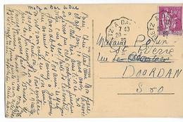 Ferroviaire MOSELLE MEUSE Convoyeur Ligne METZ à BAR LE DUC Sur 40c Paix 20.8.1936   ....G - Marcophilie (Lettres)