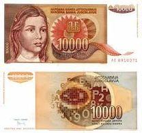 Billet Yugoslavie 10 000 Dinar - Yougoslavie