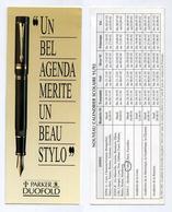 Marque-page - Parker Duofold - Un Agenda Mérite Un Beau Stylo + Calendrier 1991-1992 Au Verso - Papeterie - Marque-Pages