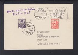 Österreich PK 1938 Linz Nach Dornbirn Sonderstempel - 1918-1945 1. Republik