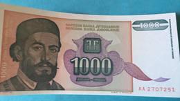Billet Yugoslavie 1000 Dinar - Yougoslavie