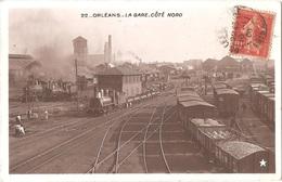 """Dépt 45 - ORLÉANS - La Gare - Côté Nord - (Éditeur : Marque """"ÉTOILE"""", Émaillographie) - Train - Orleans"""