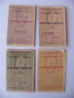 Ensemble 4 Cartes D'électeur Années 50 Vienne Isère République Française Ministère De L'Intérieur - Historical Documents
