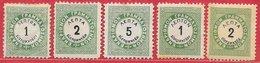Grèce Taxe N°1A à 3A, 13, 14 Vert & Noir 1875-76 * & (*) - Nuovi