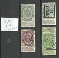 BELGIEN Belgium 1907 Michel 78 - 80 O/* - 1893-1907 Armoiries