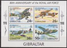 Gibraltar 1998 Yvertn° Bloc 31 *** MNH Cote 7,50 Euro Avions Vliegtuigen Royal Air Force - Gibraltar