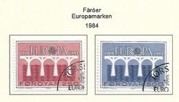 Dänemark-Färöer 1984  Mi.Nr. 97/98 , EUROPA CEPT Brücken 25 Jahre Europäische Konferenz - Gestempelt / Fine Used / (o) - Europa-CEPT