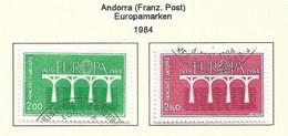 Andorra Fra.Post 1984  Mi.Nr. 350/51 , EUROPA CEPT Brücken 25 Jahre Europäische Konferenz - Gestempelt / Fine Used / (o) - Europa-CEPT