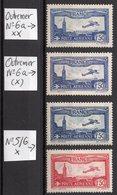 Lot Poste Aérienne N° 5/6 Neuf * /6a(*) Sans Gomme/6a ** Neuf Gomme D'Origine  TTB - 1927-1959 Used