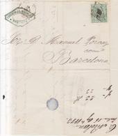 Año 1873 Edifil 133 Alegoria Carta Matasellos Rombo Tortosa Membrete Cristobal Nicolas De Tortosa - 1873 1. Republik