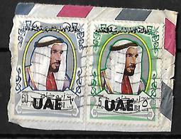 Overprint U.A.E.1972 On Abu Dhabi 60 Fills, 5 Fills, UAE  Strip Of 2 Fine Used - Abu Dhabi