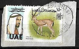 Abu Dhabi 1972 Surchargés UAE On Abu Dhabi Mountain Gazelle 150 Fills - Abu Dhabi