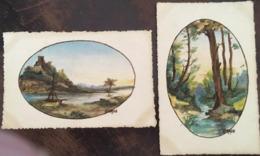 Cpa, Illustrateur Signée GIRAUD - Style Aquarelle: Paysage Rivière Château Barque Et Bois Avec Ruisseau - Andere Illustrators