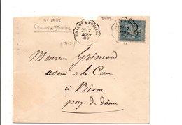 SAGE SUR LETTRE AMBULANT DE CHAGNY A MOULINS 1889 - Marcophilie (Lettres)