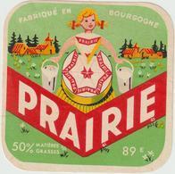 étiquette De Fromage:   Camembert   : Prairie   Bourgogne;  Moyen   Format - Fromage