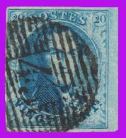 COB N°11 - Bien Margé - Beau Bord De Feuille - P45 - Obl. 18 Barres (GAND) - 1858-1862 Medallions (9/12)