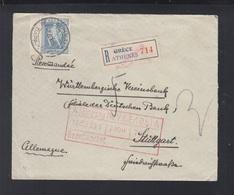 Greece Registered Cover 1935 Athens To Stuttgart - Griechenland
