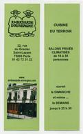 Marque-page - Ambassade D'Auvergne à Paris - Cuisine Du Terroir - Salons Privés Climatisés - Marque-Pages