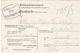 CARTOLINA POSTALE ,PRIGIONIERI DI GUERRA,GERMANIA, STAMMLAGER IV A -1944, PER ARGELATO (BOLOGNA)- - War 1939-45