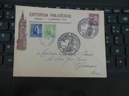 EXPOSITION PHILATELIQUE 7 JAN 1945 SUR ENVELOPPE ET VIGNETTES LIEES A L'EVENEMENT VOIR SCAN - Douai