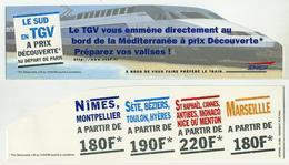 Marque-page à Découpe Spéciale - SNCF Train TGV : Le Sud à Prix Découverte Au Départ De Paris. Lire Description (erreur) - Marque-Pages