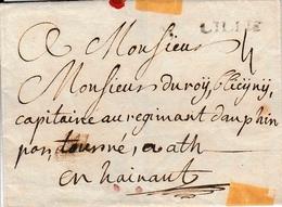 Lac De Lille Vers Ath 1780 Au Capitaine Au Régiment Dauphin Griffe De Lille En Noir 4 De Port Cachet De Cire - 1714-1794 (Austrian Netherlands)