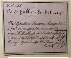60003 - Quittance De Pesage D'un Char De Paille Poids Public De Vuitteboeuf 27.09.1876 - Suisse
