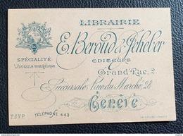 60053 -  Librairie E.Beroud & Jeheber Spécialité Librairie évangélique Grand Rue 2  & Place Du Marché 28 Genève - Cartes De Visite