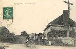 - Sarthe -ref-820- Spay - Quartier De La Gare - Calvaire - Calvaires - Cycliste -  Carte Bon Etat - - France